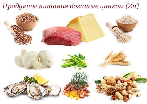 продукты содержащие цинк